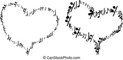coração, notas, musical, forma