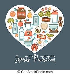 coração, nutrição, saudável, cartaz, comida dieta, suplemento, icons., condicão física, desporto, dietético