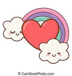 coração, nuvens, arco íris