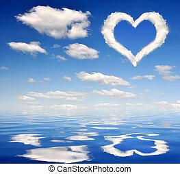coração, nuvens