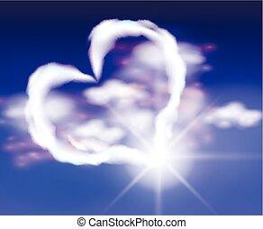 coração, nuvens, céu