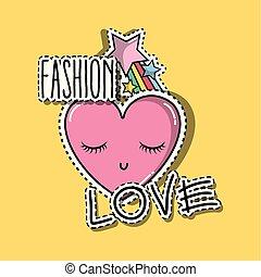 coração, olhos, moda, estrela, remendos, raibow