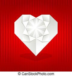 coração, origami, vermelho, experiência.