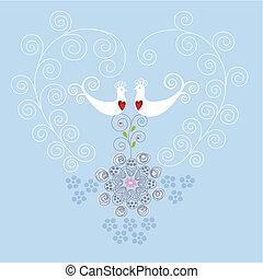 coração, ornamento, pássaros, amor