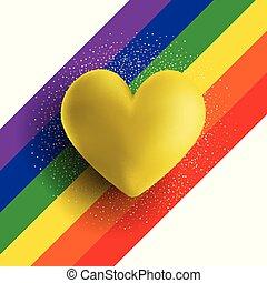 coração, ouro, arco íris, fundo, listrado, 3d