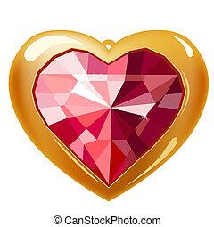 coração, ouro, isolado, fundo, branca, rubi