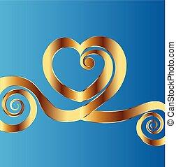 coração, ouro, valentine