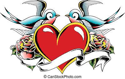 coração, pássaro, tatuagem