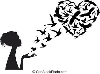 coração, pássaros, vetorial, dado forma, voando