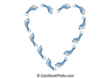coração, pés, ecológico, sinal, forma