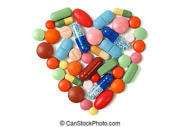 coração, pílulas