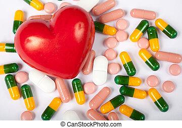 coração, pílulas, vermelho
