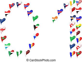 coração, país, numere 1, 0, bandeira, mundo