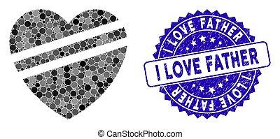 coração, pai, ícone, doente, mosaico, amor, angústia, selo