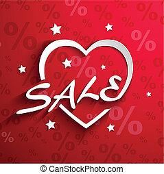 coração, palavra, cento, venda, efeito, desconto, forma, poster.paper, fundo,