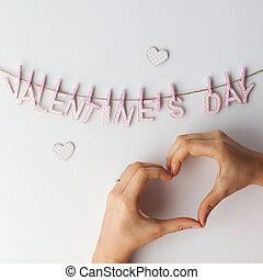 Coração, palavras, mãos,  valentines, fundo, penduradas, branca, Dia