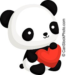 Coração,  Panda, travesseiro