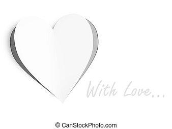 coração papel, com, espaço cópia