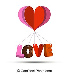 coração papel, símbolo, corte, amor