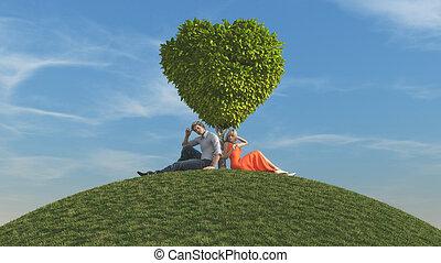 coração, par, árvore, jovem, dado forma, sob