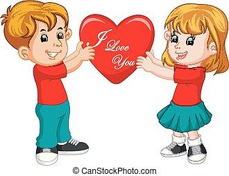 coração, par, amor, caricatura, segurando