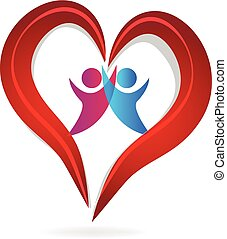 coração, par, amor, logotipo