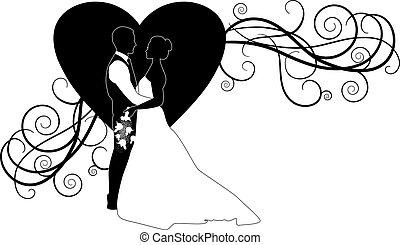 coração, par, casório, ornate