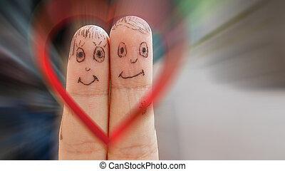 Coração, par, dinâmico, fundo, amando