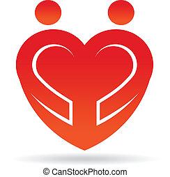 coração, par, forma, logotipo