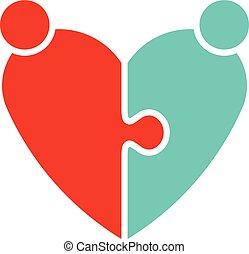 coração, par, puzzle., ilustração, logotipo