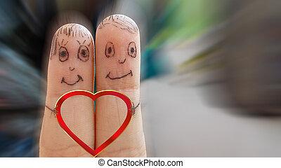 Coração, par, segurando, amando