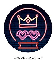 coração, parede, néon, coroa, partido, tijolo, óculos