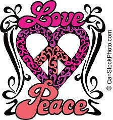 coração, paz, amor