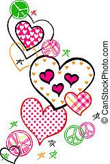 coração, paz, fantasia, logotipo