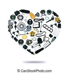 coração, peças sobressalentes, car, ligado, a, fundo branco