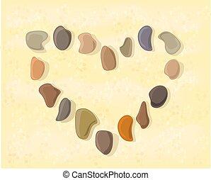coração, pedra, areia, colocado