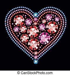 coração, pedra preciosa