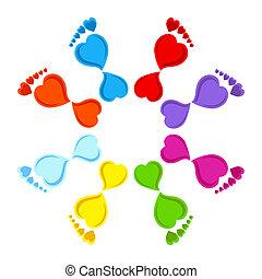 coração, pegadas, feito, coloridos