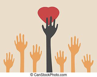 coração, pegando, mãos