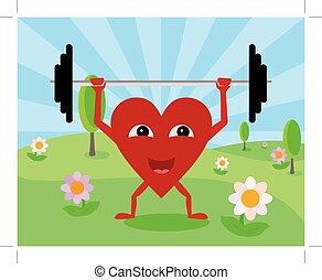 coração, pesos, levantamento