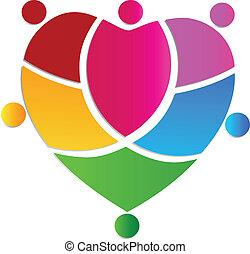 coração, pessoas, equipe, criativo, logotipo