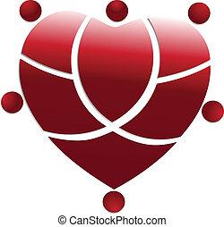 coração, pessoas, equipe médica, logotipo, vermelho