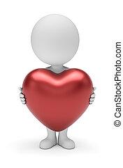 coração, pessoas, grande, -, pequeno, 3d