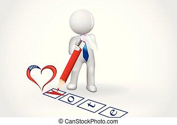 coração, pessoas, lista de verificação, -, pequeno, voto, 3d
