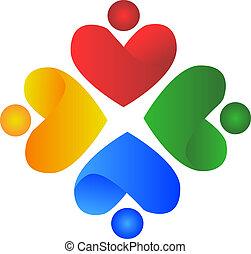 coração, pessoas, logotipo