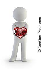 coração, pessoas, -, mãos, pequeno, vermelho, 3d