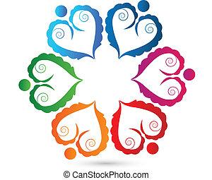 coração, pessoas, trabalho equipe, logotipo, swirly
