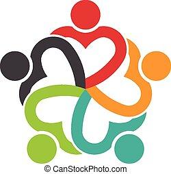 coração, pessoas, trabalho equipe, social, 5, amizade