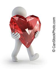 coração, pessoas, -, valentine, pequeno, dia, 3d