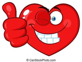 coração, pestanejo, polegar, dar, personagem, cima, rosto, caricatura, vermelho, emoji